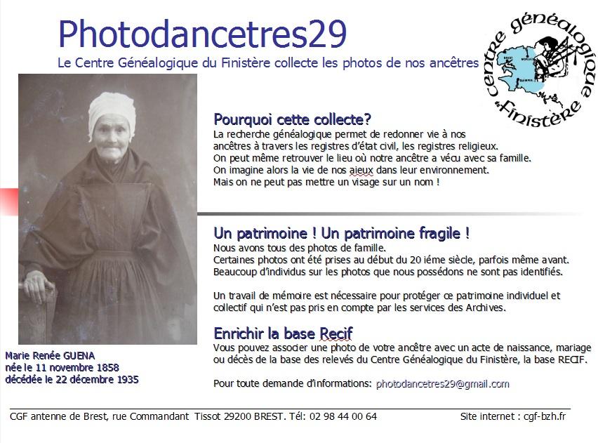 Photodancetres29  – Le Centre Généalogique du Finistère collecte les photos de nos ancêtres.