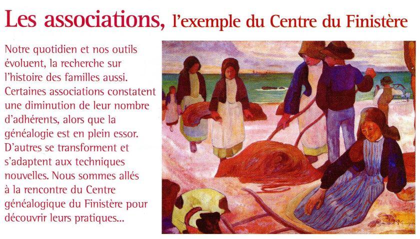 Un article sur le Centre Généalogique du Finistère dans la revue Archives et Culture