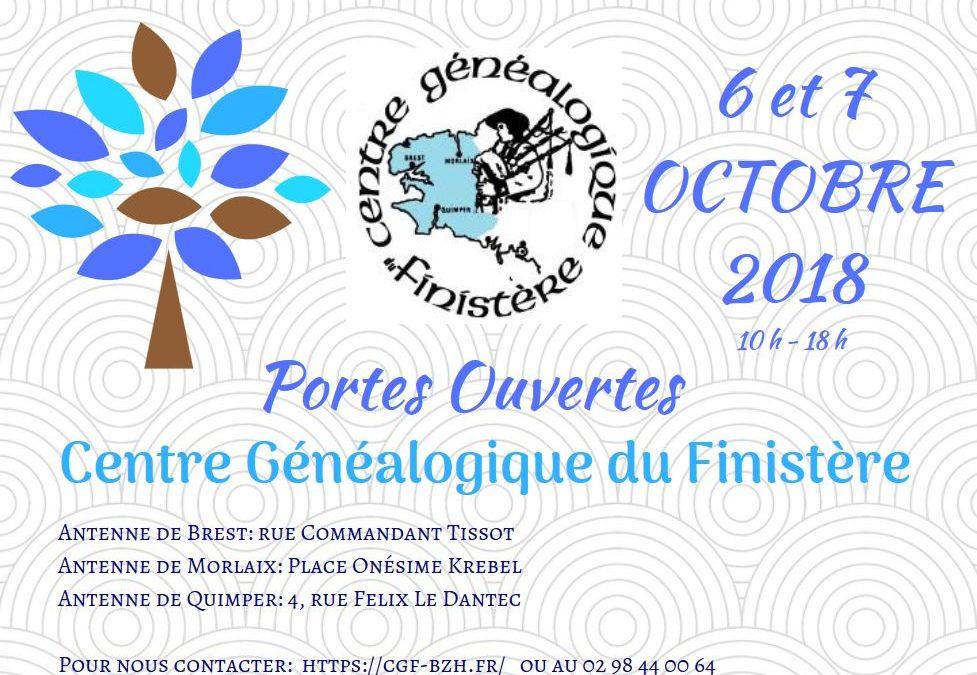 les 6 et 7 Octobre 2018 – PORTES OUVERTES  au Centre Généalogique du Finistère !