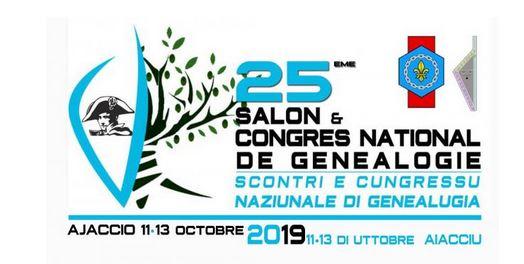 XXVème Congrès National de Généalogie. 11 au 13 octobre 2019 – Ajaccio