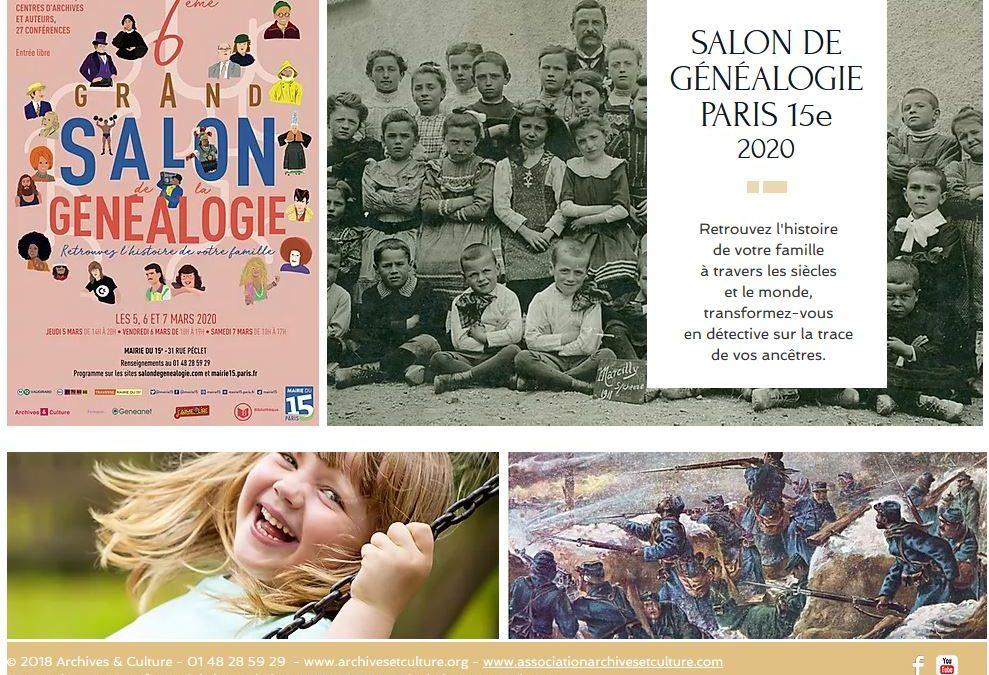 SALON GÉNÉALOGIE PARIS 15 – jeudi 5, vendredi 6 et samedi 7 mars 2020