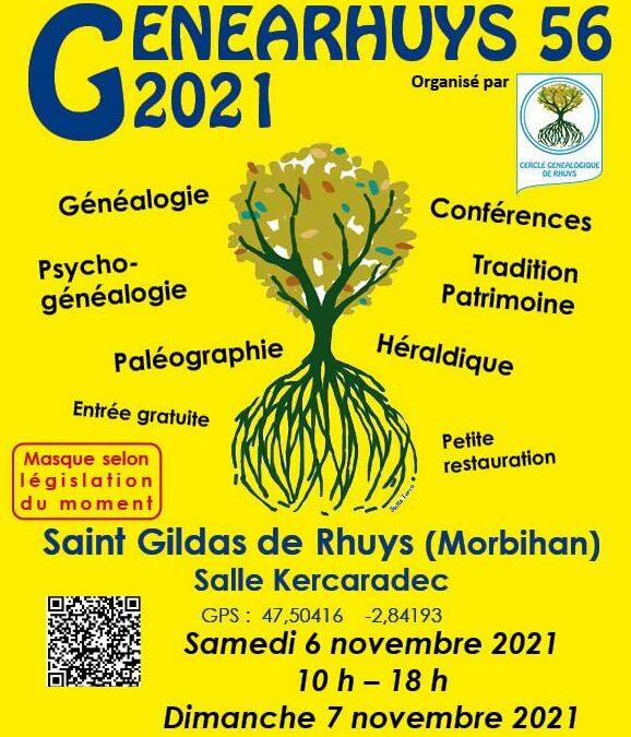 Le cercle de Généalogie de Rhuys (Morbihan) organise le 06 et 07 novembre 2021 son 2ème salon de généalogie.